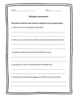 Dialogue and Quotation Marks Assessment