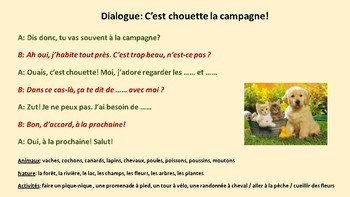 Dialogue in French, animaux de la ferme et campagne
