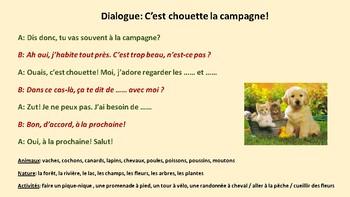Dialogue in French, animaux de la ferme et campagne