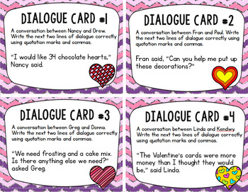 Dialogue in Writing Task Cards (24 cards):Valentine's Day Edition for Grades 3-5