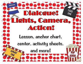 Dialogue lessons, anchor chart, notebook, task cards and more!