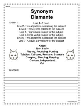 Diamante Poem Handout FREE