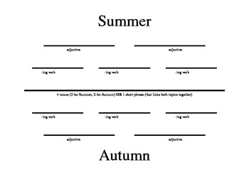Diamante Poem Handout (Autumn)