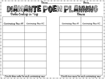 Diamante Poem Planning and Publishing Packet