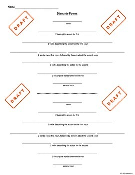 Poetry Writing- Diamante Poem Student Hand-Out