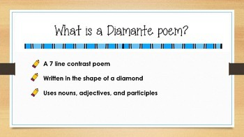 Diamante Poetry Lesson COMPLETE PowerPoint
