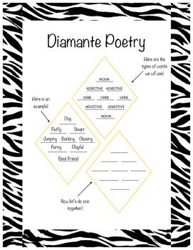 Diamante Poetry Template