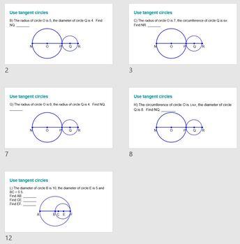 Diameter, Circumference, & Segment Length Problems (Tangent&Overlapping Circles)