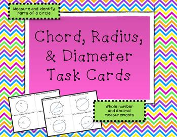 Circle Measurement - Diameter, Radius, Chord Task Cards