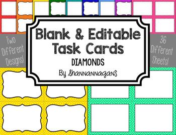Blank Task Cards-Basics: Diamond (300dpi) with Editable Po