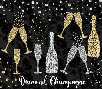 Diamond Champagne Clipart, new years graduation party glitter clip art