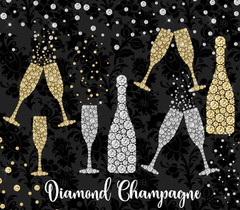 Diamond Champagne Clipart, new years graduation party glit