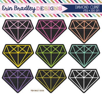 Diamond Clipart Graphics - Black