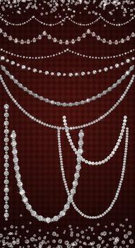 Diamond Clipart - Rhinestone Strands String Lights Jewel Gem Overlays