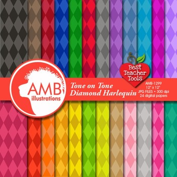 Diamond Digital Papers, Multi-Colored Harlequin Diamond Pattern, AMB-1299