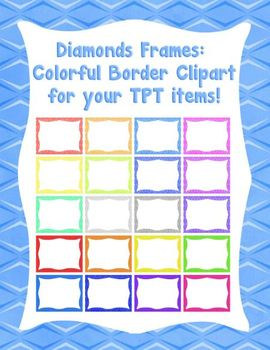 Diamond Frames: Colorful Border Clipart for your TPT Items!