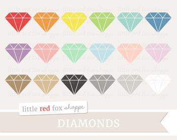 Diamond Gem Clipart; Jewel, Jewelry, Wedding, Engagement