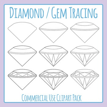 Diamond / Gem / Jewel Tracing for Fine Motor Control Clip Art Commercial Use