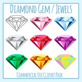 Diamond Gem / Jewels Clip Art Set for Commercial Use