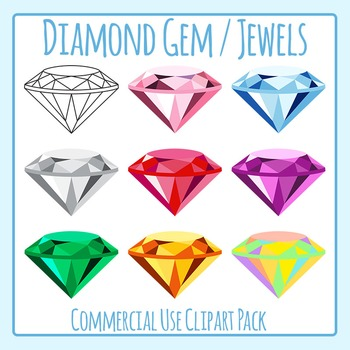 Diamond Gem / Jewels Clip Art Set for Commercial Use