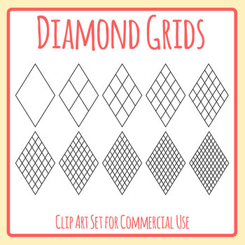 Diamond Grids / Blank Templates for Patterns, Tables etc Clip Art Commercial Use