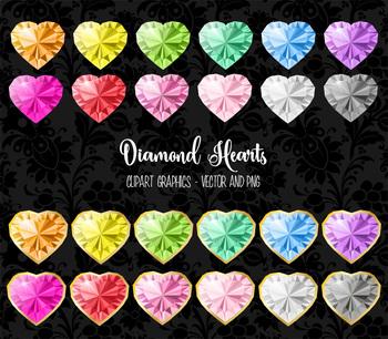 Diamond Hearts Clipart, vector jewels, Valentine's day graphics clip art