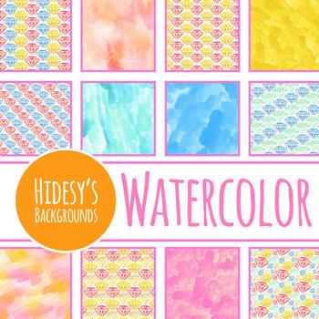 Diamond / Jewel / Gem Theme Handpainted Watercolor Digital Papers / Backgrounds