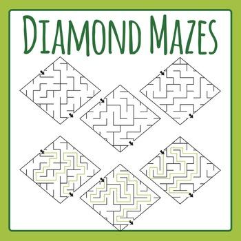 Diamond Mazes Clip Art Set for Commercial Use