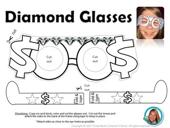 Money Sign Glasses - Diamond - Kindergarten, First Grade