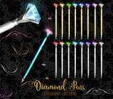 Diamond Pens Clipart, jewel calligraphy pen clip art graphics