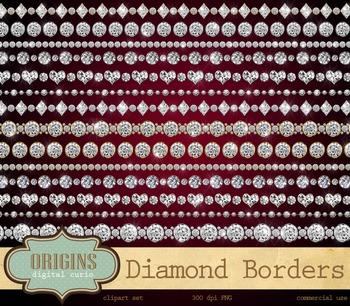 Diamond Rhinestone Borders Clipart PNG