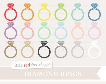 Diamond Ring Clipart; Jewelry, Wedding, Engagement