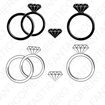 Diamond Ring SVG cutting files for Silhouette Cameo and Cricut.