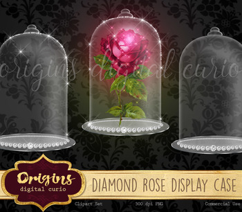Diamond Rose Glass Display Case clipart, beauty and the beast clip art