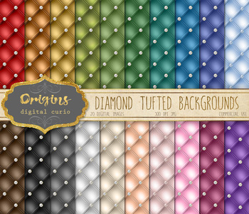 Diamond Tufted Digital Paper Backgrounds, quilted quilting tufting leather