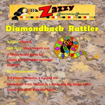 Diamondback Rattler Folder Game Phonics Short Vowels a, e