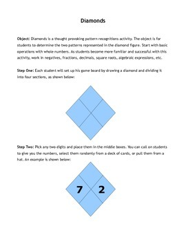 Middle School Math Activity: Diamonds - Identifying Patterns