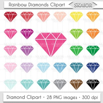 Diamonds Clipart Rainbow Diamonds Clip Art Jewelry Clipart Printable Scrapbook