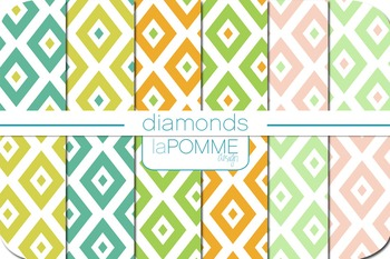 Diamonds Geometric Retro Patterned Digital Paper Pack