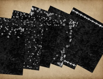 Diamonds and Black velvet digital scrapbook paper backgrounds, rhinestone jewels