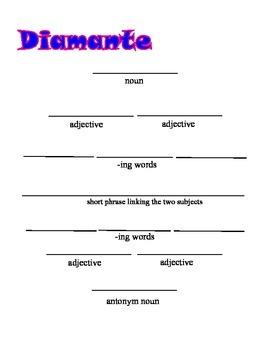 Diamonte Poem Frame;Poetry; Writing Strategies; Parts of s