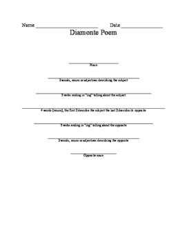 Diamonte Poem (teacher's modeled example and student worksheet)