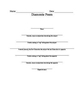 Diamonte Poem (teacher's modeled example and student worksheet)
