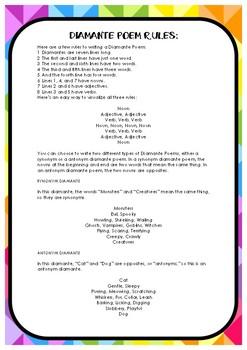 Diamante Poem template