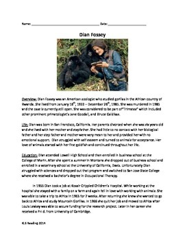 Dian Fossey - Review Article - Questions - Vocabulary