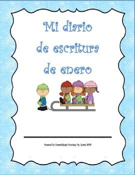Diario de Escritura - Enero.  Spanish writing journal for January