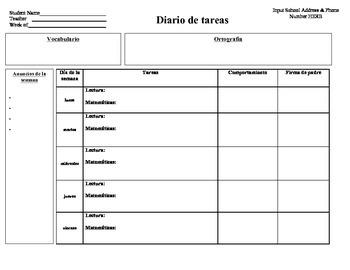 Diario de Tareas (Homework Log)