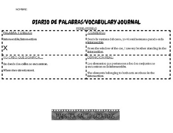 BILINGUAL:Diario de Vocabulario/Vocabulary Journal (Middle and High School)