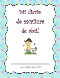 Diario de escritura - abril. Spanish writing journal for April