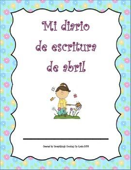 Diario de escritura - abril. Spanish writing journal for April